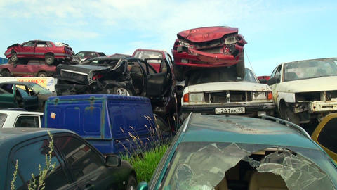 Cemetery machines, dump cars Stock Video Footage