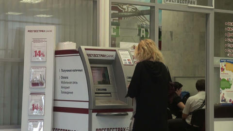 The woman at the ATM Stock Video Footage