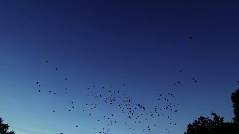 Balloons fly away into the sky Footage
