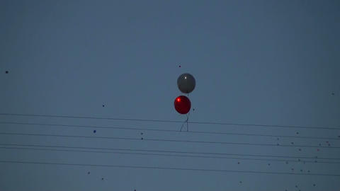 Balloons are caught in the wire Stock Video Footage