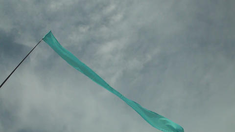 Blue flag in the sky Stock Video Footage