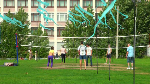 Volleyball on the grass Stock Video Footage