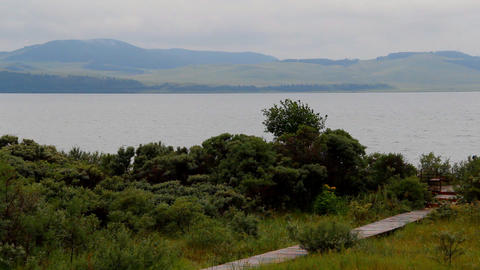 Itkul big lake in Khakassia reserve Khakasskiy Footage