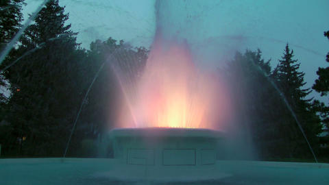 Colorful Fountain at Dusk Stock Video Footage
