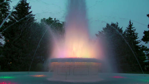 Colorful Fountain at Dusk Footage