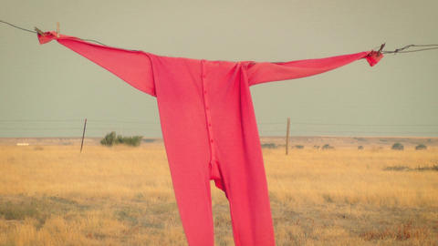 Clothesline and Red Long Johns Stock Video Footage