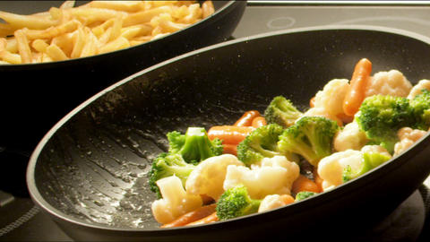 Frying Vegetables Stock Video Footage