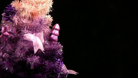 Pink Christmas tree rotates. Close-up Stock Video Footage