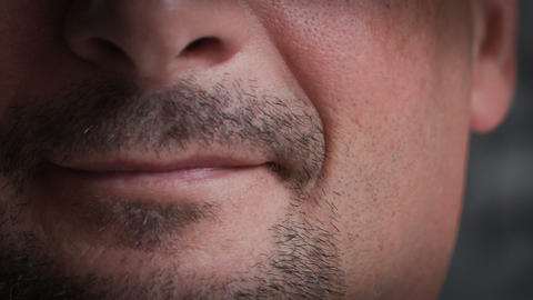 Closeup Of Young Male Lips.RAW Video 2 Stock Video Footage