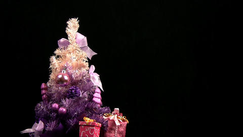 Pink Christmas tree rotates Footage
