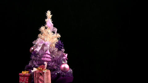 Pink Christmas tree rotates Stock Video Footage