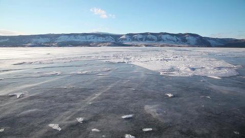Drifting snow on Baikal lake Stock Video Footage