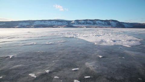 Drifting snow on Baikal lake Stock Video Footage