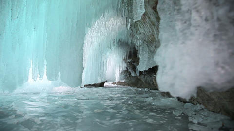 Ice grotto on Baikal lake Stock Video Footage