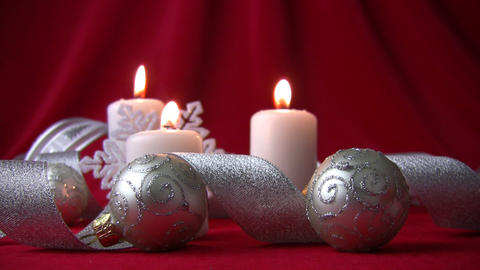 White candles and silver balls Stock Video Footage