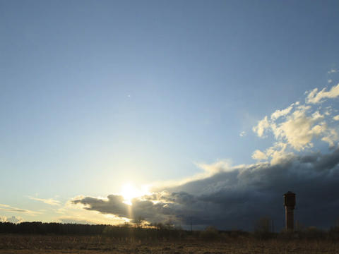 Storm clouds at sunset. Fixed distortion. Time Lap Stock Video Footage