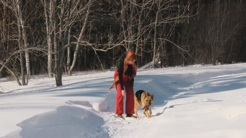 Woman with dog in winter forest Stock Video Footage
