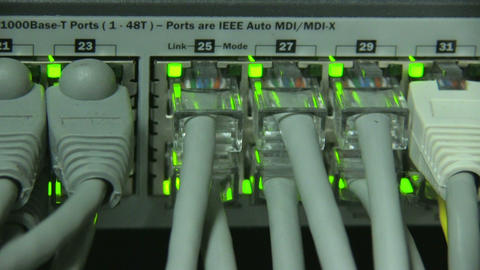 Cables and connections on network server Stock Video Footage