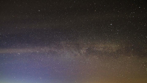 Milky Way rotates around the pole star, then dawn. Stock Video Footage