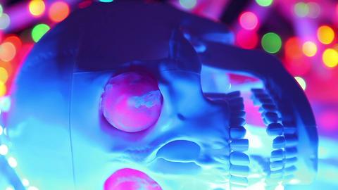 Skull on defocused background, halloween scary hea Footage