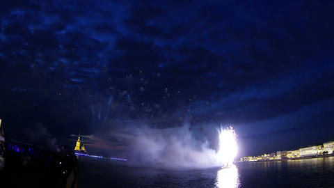 Salute against the Peter and Paul fortress Stock Video Footage
