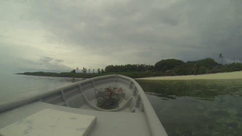 Boat arriving to a beautiful tropical island Footage
