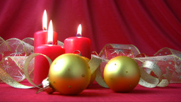 Red candles and gold balls Stock Video Footage