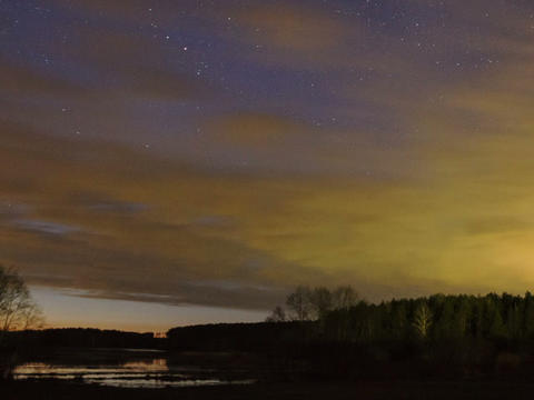 Sunset over the lake, then there are the stars and Stock Video Footage