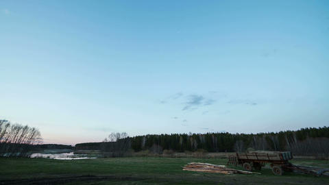 Sunset over the field, and then see the Milky Way. Stock Video Footage