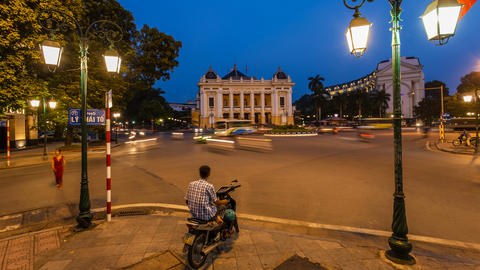 4k - Hanoi Opera House - Time Lapse - Vietnam Stock Video Footage