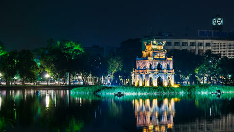 4k - Turtle Tower on Hoan Kiem lake - Hanoi Footage