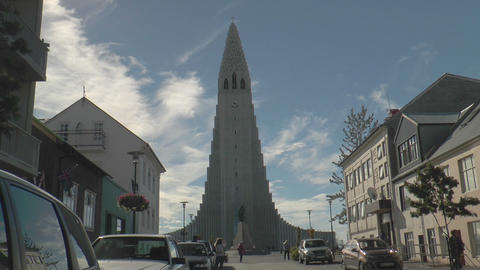 Hallgrimskirkja in Reykjavik street view Stock Video Footage