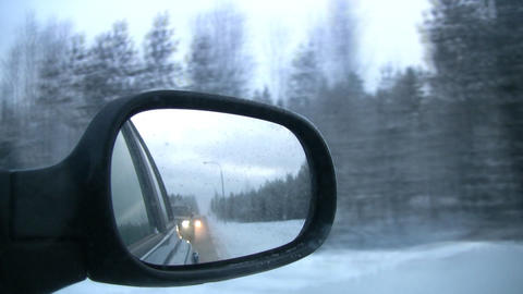 Right mirror of the car Stock Video Footage