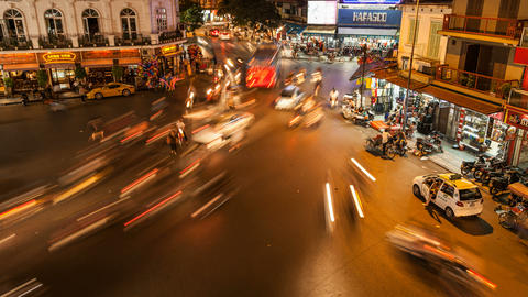 4k - HANOI, VIETNAM - NIGHT TRAFFIC TIME LAPSE Stock Video Footage