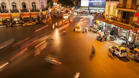 4k - HANOI, VIETNAM - NIGHT TRAFFIC TIME LAPSE Footage