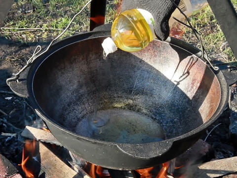 Cooking pilaf. Pour oil Stock Video Footage