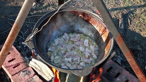 Process of preparation of traditional pilaf Footage
