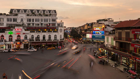 1080 - HANOI SUNSET TIMELAPSE - HOAN KIEM DISTRICT Footage