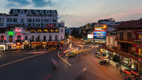 1080 - HANOI SUNSET TIMELAPSE - HOAN KIEM DISTRICT Stock Video Footage