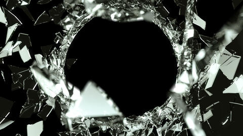 Cracked and Shattered black glass with slow motion Stock Video Footage