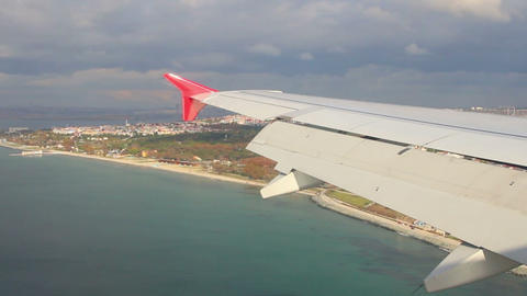 landing in Istanbul airport - view from plane Stock Video Footage