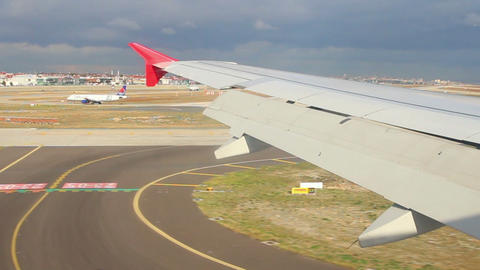 Landing In Istanbul Airport - View From Plane stock footage