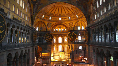 hagia sofia museum interior in istanbul turkey Footage
