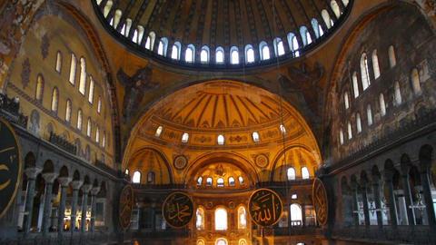 hagia sofia museum interior in istanbul turkey Stock Video Footage