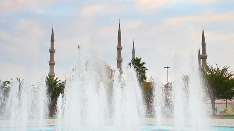 sultanahmet mosque and fountain in istanbul turkey Footage