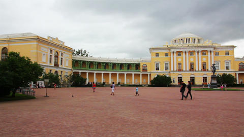 Grand palace in Pavlovsk park Saint-Petersburg Rus Stock Video Footage