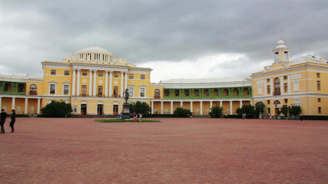Grand palace in Pavlovsk park Saint-Petersburg Rus Stock Video Footage