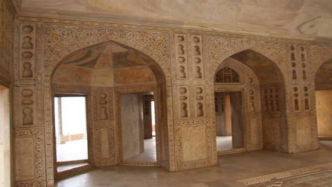 palace interior in Agra fort - India Stock Video Footage