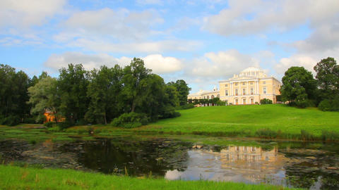 Grand palace on hill in Pavlovsk park Saint-Peters Stock Video Footage