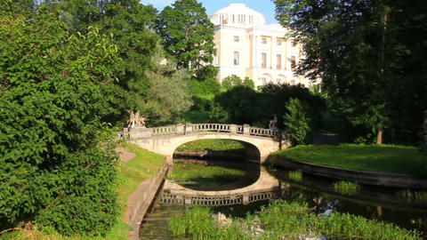 Centaurs bridge in Pavlovsk park Saint-Petersburg  Footage